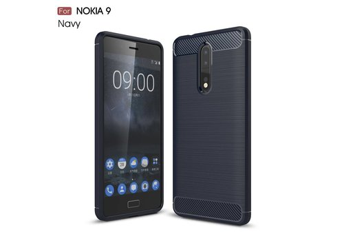 Nokia 8 - Geborsteld Hard Back Cover Carbon Fiber Design - Donker Blauw