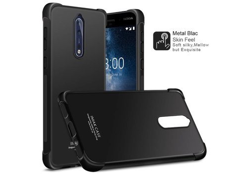 Nokia 8 - Shockproof TPU Back Case met Screenprotector - Zwart