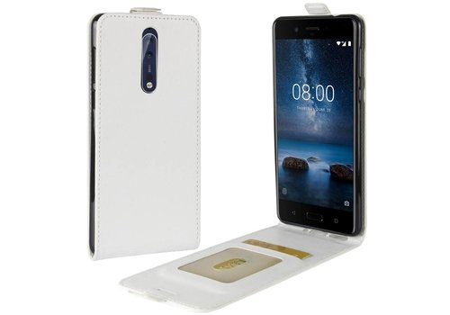 Nokia 8 - PU lederen Flip Hoesje Case met Kaarthouder en Fotohouder - Wit