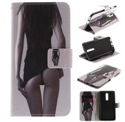 GSMWise Nokia 8 - PU lederen Portemonnee Case met Kaarthouder - Hot Girl Design - Wit / Zwart