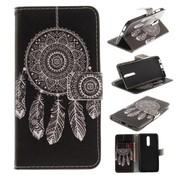 GSMWise Nokia 8 - PU lederen Portemonnee Case met Kaarthouder - Dreamcatcher Design - Wit / Zwart