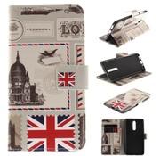GSMWise Nokia 8 - PU lederen Portemonnee Case met Kaarthouder - London Design - Wit / Zwart