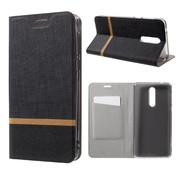 GSMWise Nokia 8 - Book Case Denim en PU Leer met Kaarthouder - Zwart