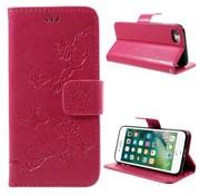 GSMWise Apple iPhone 7 / 8 - PU lederen Portemonnee Hoesje met Kaarthouder - Vlinder Design - Rose