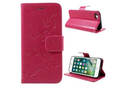 Apple iPhone 7 / 8 - PU lederen Portemonnee Hoesje met Kaarthouder - Vlinder Design - Rose