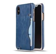 GSMWise Apple iPhone X - PU Lederen PC Back Case met Kaarthouder - Blauw