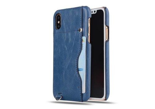 Apple iPhone X - PU Lederen PC Back Case met Kaarthouder - Blauw