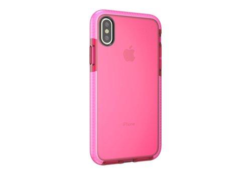 Apple iPhone X - Transparant TPU Hoesje Back Case - Rood / Roze
