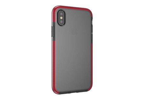 Apple iPhone X - Transparant TPU Hoesje Back Case - Grijs / Rood