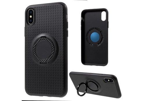Apple iPhone X - Flexibele TPU Ringhouder Back Case met Kickstand - Zwart / Zwart