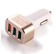 GSMWise GSMWise - Autolader 3 USB Poorten Qualcomm Quick Charge 3.0 - Goud