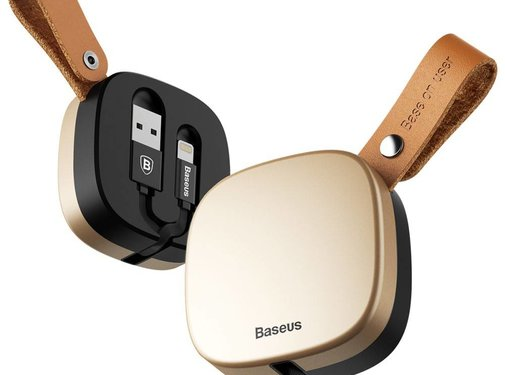 GSMWise BASEUS - Intrekbare Lightning Oplaad Kabel met Case - Goud