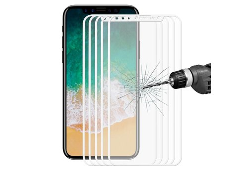 Apple iPhone X - Volledige dekkende Tempered Glazen Screenprotector - Wit