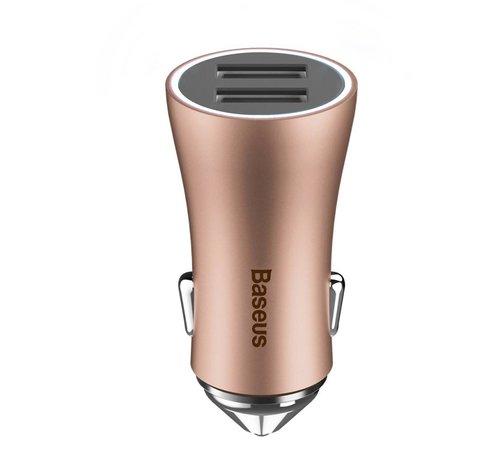 GSMWise Baseus - Autolader met 2 USB Ingangen - Rose / Goud