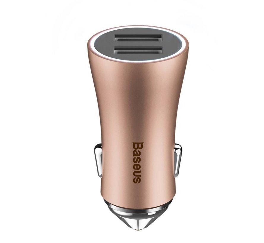 Baseus - Autolader met 2 USB Ingangen - Rose / Goud