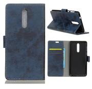 GSMWise Nokia 8 - Vintage PU lederen Portemonnee Case met Kaarthouder - Blauw