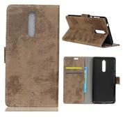 GSMWise Nokia 8 - Vintage PU lederen Portemonnee Case met Kaarthouder - Beige