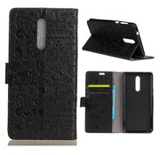 GSMWise Nokia 8 - PU Lederen Portemonnee hoesje met Kaarthouder - Cartoon Design - Zwart