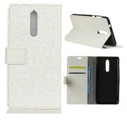 GSMWise Nokia 8 - PU Lederen Portemonnee hoesje met Kaarthouder - Cartoon Design - Wit
