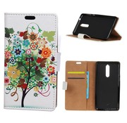 GSMWise Nokia 8 - PU lederen Portemonnee Hoesje Case met Kaarthouder - Kleurrijke Boom Design - Wit