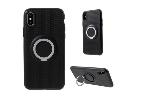 Apple iPhone X - Flexibele TPU Ringhouder Back Case met Kickstand - Zwart / Zilver