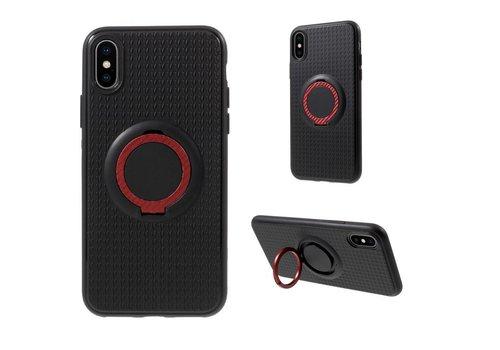 Apple iPhone X - Flexibele TPU Ringhouder Back Case met Kickstand - Zwart / Rood