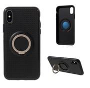 GSMWise Apple iPhone X - Flexibele TPU Ringhouder Back Case met Kickstand - Zwart / Goud