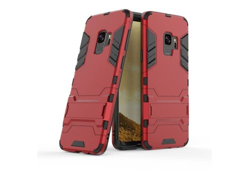 Samsung Galaxy S9 - Ultra Hybride Hard Case met standaard - Rood