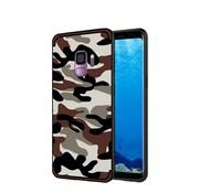 GSMWise Samsung Galaxy S9 - Stevig Hybride Back Case Hoesje Shockproof Camouflage Stijl - Coffee