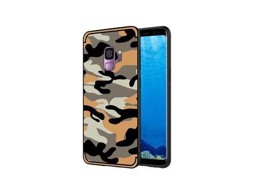 Samsung Galaxy S9 - Stevig Hybride Back Case Hoesje Shockproof Camouflage Stijl - Oranje