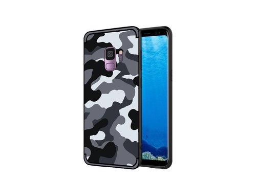 Samsung Galaxy S9 - Stevig Hybride Back Case Hoesje Shockproof Camouflage Stijl - Grijs