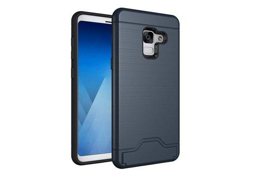 Samsung Galaxy A8 (2018) - Geborsteld Hardcase Hoesje met Pashouder en Standaard - Blauw