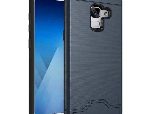 GSMWise Samsung Galaxy A8 (2018) - Geborsteld Hardcase Hoesje met Pashouder en Standaard - Blauw