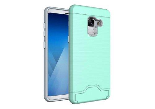 Samsung Galaxy A8 (2018) - Geborsteld Hardcase Hoesje met Pashouder en Standaard - Cyaan Turquoise