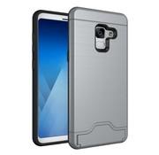 GSMWise Samsung Galaxy A8 (2018) - Geborsteld Hardcase Hoesje met Pashouder en Standaard - Grijs