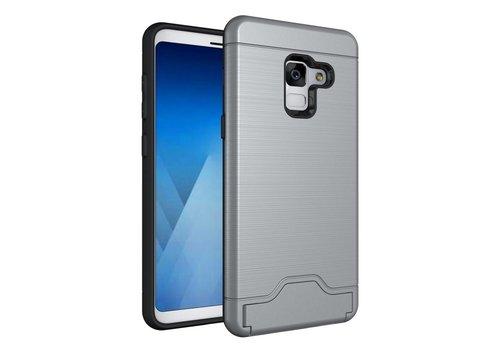 Samsung Galaxy A8 (2018) - Geborsteld Hardcase Hoesje met Pashouder en Standaard - Grijs