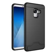 GSMWise Samsung Galaxy A8 (2018) - Geborsteld Hardcase Hoesje met Pashouder en Standaard - Zwart