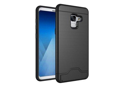 Samsung Galaxy A8 (2018) - Geborsteld Hardcase Hoesje met Pashouder en Standaard - Zwart