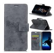 GSMWise Samsung Galaxy A8 (2018) - PU Lederen Retro Stijl Portemonnee Case met Kaarthouder - Grijs
