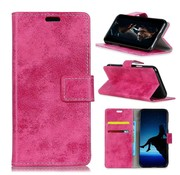 GSMWise Samsung Galaxy A8 (2018) - PU Lederen Retro Stijl Portemonnee Case met Kaarthouder - Roze