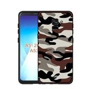GSMWise Samsung Galaxy A8 (2018) - Stevig Hybride Back Case Hoesje Shockproof Camouflage Stijl - Coffee