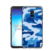 GSMWise Samsung Galaxy A8 (2018) - Stevig Hybride Back Case Hoesje Shockproof Camouflage Stijl - Blauw