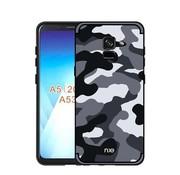 GSMWise Samsung Galaxy A8 (2018) - Stevig Hybride Back Case Hoesje Shockproof Camouflage Stijl - Grijs
