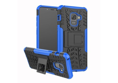 Samsung Galaxy A8 (2018) - Stevig Hybride Backcover Hoesje Shockproof met standaard - Blauw