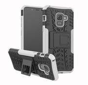 GSMWise Samsung Galaxy A8 (2018) - Stevig Hybride Backcover Hoesje Shockproof met standaard - Wit
