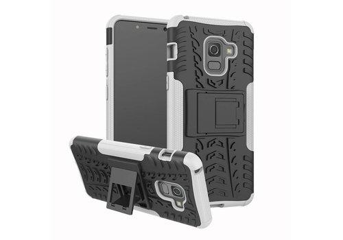 Samsung Galaxy A8 (2018) - Stevig Hybride Backcover Hoesje Shockproof met standaard - Wit
