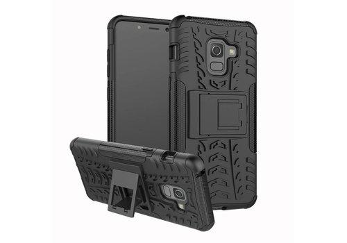 Samsung Galaxy A8 (2018) - Stevig Hybride Backcover Hoesje Shockproof met standaard - Zwart