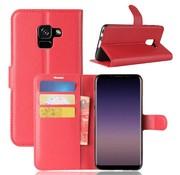 GSMWise Samsung Galaxy A8 (2018) - Lychee PU Lederen Portemonnee Case - Rood