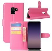 GSMWise Samsung Galaxy A8 (2018) - Lychee PU Lederen Portemonnee Case - Hot Pink