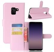 GSMWise Samsung Galaxy A8 (2018) - Lychee PU Lederen Portemonnee Case - Roze